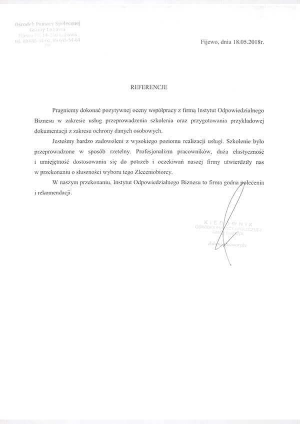 szkolenie rodo referencje ops lubawa