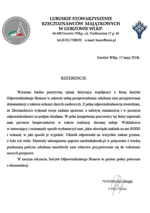 warsztaty IOD referencje lubuskie stowarzyszenie rzeczoznawcow majatkowych w gorzowie